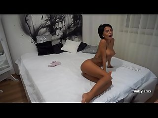 Anisyia in white sexy lingerie masturbate with dildo