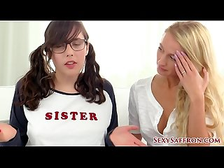 Petite MILF Stepmom & Bratty Step Sister Teach You How to Jerk Off! With Saffron Bacchus and..