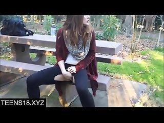 Risky public teen squirt