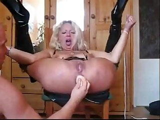 Blonde milf sub gets ass fucked pussy fucked squirts and also pissed on