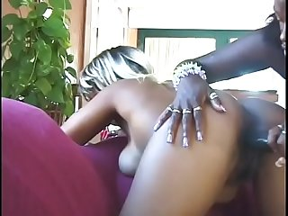 Busty ebony chicks playing with toys foursome