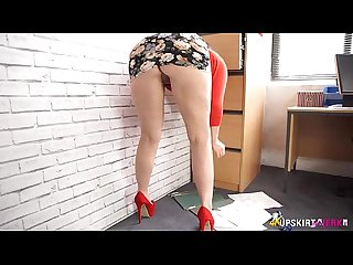 High heeled secretary flashes her panties at you milf porn