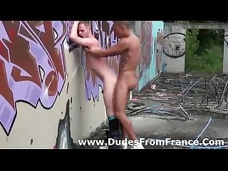 Gay french dudes fuck ass outdoors
