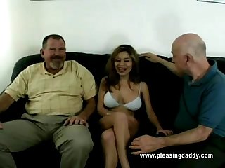 Sexy Justine Fucks Two Old Guys