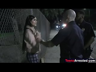 Hot teen shoplifter bribes sleazy cop with a blowjob & fuck