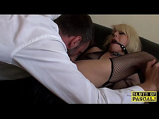 Ballgagged spanish sub made to masturbate