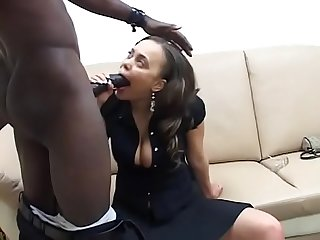 Big bulbous ebony babe gets freaky with her black long dicked boss
