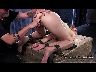 Babe in back bend bondage position cunt vibed