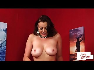 Classy Britt strips and toys pussy giving JOI