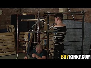 Hot twink Xavier getting that black plastic from master