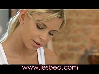 Lesbea young girl sinks her massage fingers deep into an oiled pussy