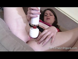 Horny coed edging with a vibrator to a creamy wet pussy contracting orgasm