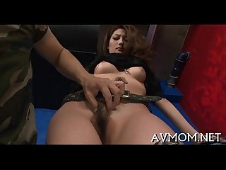 Bushy tight pussy mom gets fingered