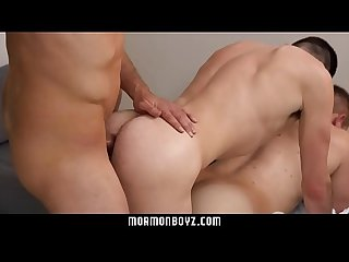 Mormonboyz blonde muscle daddy punishes two missionary boys