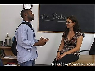 Brunette teacher seduced by black cock