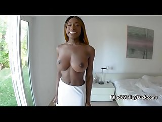 Huge titty black reality agent bounces on my cock