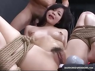 Submissive Japanese Beauty In Hardcore BDSM Threesome With Toys And Rope Bondage