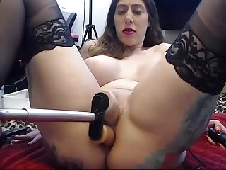 Stockings girl gets railed by fucking machine and deepthroats toy period long video webcamsluts peri