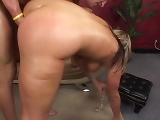 Nice tits blonde chick Daren Darby gets her pussy pounded and oiled asshole fucked doggystyle by a..