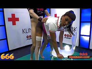 Mimi the Black Nurse is thirsty for Piss and Cum - 666Bukkake