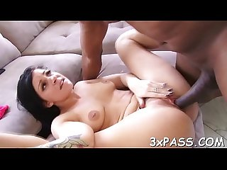 Anal hole of leggy cute woman is stuffed by biggest black dick