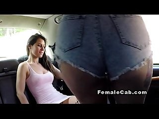 Amateur lesbians tribbing in fake taxi