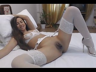 Hot college babe in white lingerie masturbating at hotcam4 com
