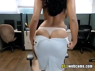 Big busty latina Camgirl fingering in front of a webcam