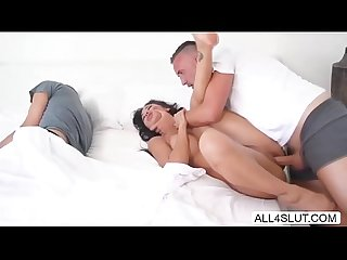 Hot Brunette Amia massaged by her BFs Roommate in their bed