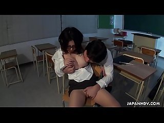 Horny Japanese teacher Minami Kitagawa blows her students hairy dick