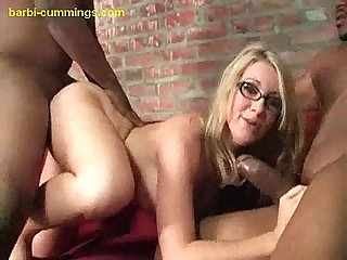 Stuffing blonde with black cocks