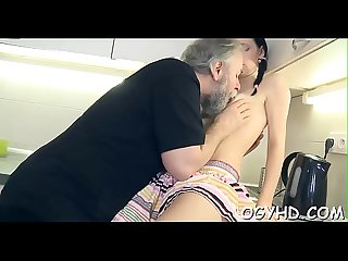 Cute juvenile hotty fucked by old guy