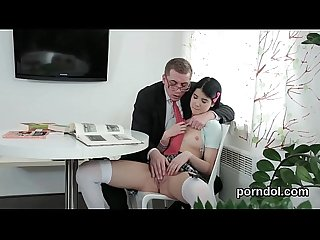 Innocent college girl gets seduced and rode by her older teacher