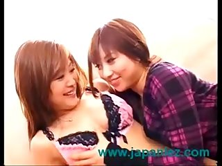 Japanese big boob lesbians make out and strip