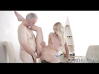 Sexy juvenile babe banged by old guy