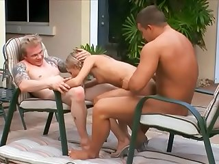 Young blonde gal Tyler Stevenz invited over couples of horny well-stuffed dudes to have some fun..