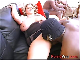 Very bigs tits blond fucked by 3 blacks french amateur