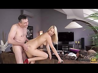 DADDY4K. Busty chick fucked by old man next to her sleeping boyfriend