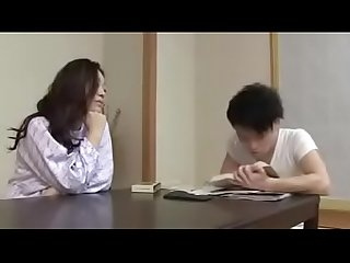 Japanese step mom with son drink and fuck