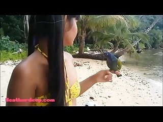 Hd ameteur tiny Thai Teen heather deep day at the beach gives deepthroat throatpie swallow New