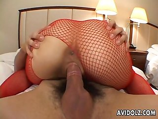 Asian bitch with a perfect ass riding him tremendeously