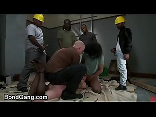 Bound redhead gal gagged and fucked by construction workers