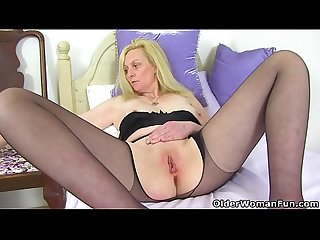 British comma blonde and busty milf fiona rips her tights