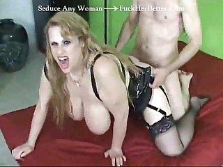 Huge tits milf spoons the cum