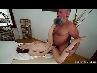 Older man fucks her younger massage client