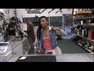 Curvy ebony pounded at the pawnshop for the golf clubs