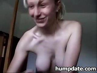 Blonde babe gives handjob and swallows