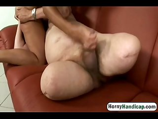 Handicapped man gets to fuck a busty brunette with big tits