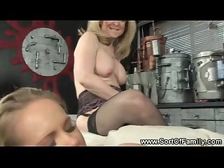 Mama and daughter enjoy a threesome