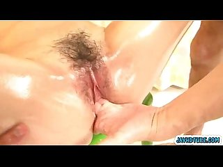 Risa murakami chicks all covered in oil and pussy toyed